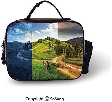 Apartment Decor Insulated Lunch Cooler Bag Collage of Three Autumn Scene on Cross Road Hillside Meadow in Mountain Range Fashion model Lunch Tote,10.6x8.3x3.5 inch,Multi