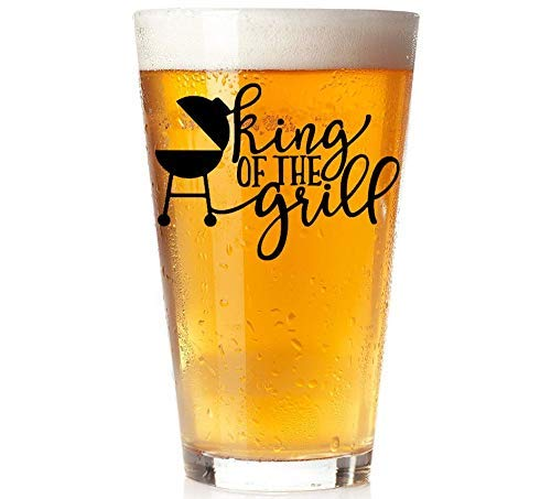 King of the Grill - Beer Pint Glass - Father's Day Gift for Dad, Stepdad, Step Dad, Husband, ()