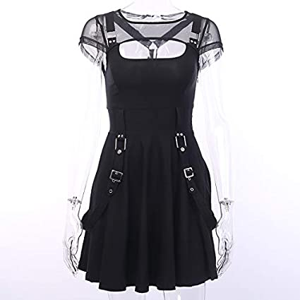 Gothic Punk Chain Cami Dress Night Sky Star Moon Print Empire Waist Zipper Mini Dress