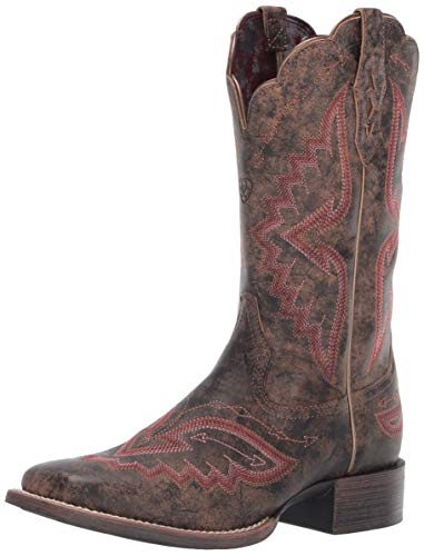 Ariat Women's Women's Round Up Santa Fe Western Boot, Distressed Truffle, 6 B US -
