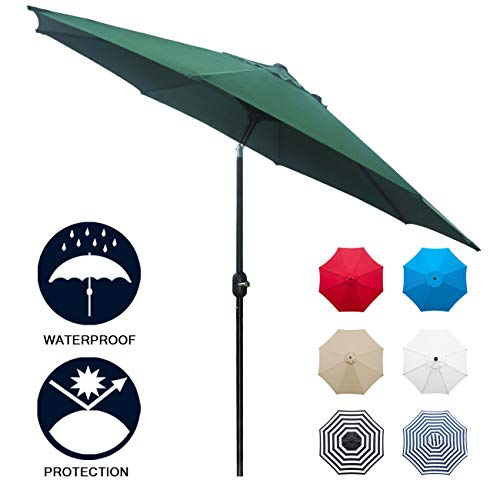 - Sunnyglade 9' Patio Umbrella Outdoor Table Umbrella with 8 Sturdy Ribs (Dark Green)