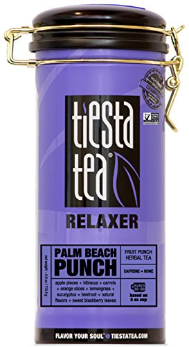Tiesta Tea Palm Beach Punch, Fruit Punch Herbal Tea, 50 Servings, 4 Ounce Tin, Caffeine Free, Loose Leaf Herbal Tea Relaxer Blend, Non-GMO - Zhena Gypsy Tin