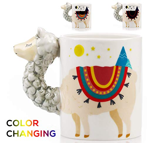 - Color Changing Llama Mug - 3D Ceramic Lama Coffee Mugs. Novelty Alpaca llama gifts. Perfect Holiday or Birthday Gift for Llama lovers. Great Kitchen, Office or Bedroom Decor. Makes A Great Cup of Tea