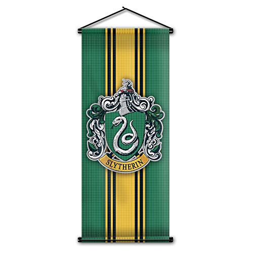 Harry Potter Style Striped Banner - Slytherin Flag 43in x 16in - High Quality Wall Scroll - Ready to Hang - Perfect Barware Man Cave Gift - Unique HP Collectible Accessories (Slytherin Flag)