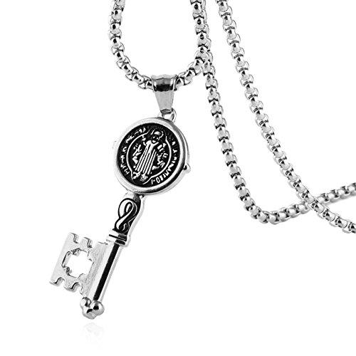 HZMAN Saint St Benedict of Nursia Patron Against Evil Key Pendant Stainless Steel Necklace (Silver) (Silver)