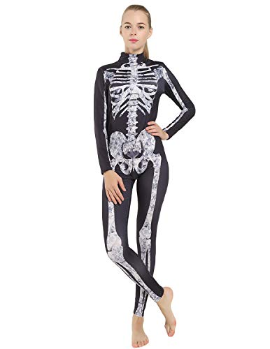 Quesera Women's Halloween Costume Skeleton Zip Up Skinny