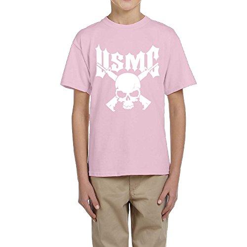 KSING Kid's US Marine Corps USMC Logo T-shirt Pink M ()