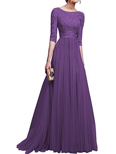 Abendkleider Brautjungfernkleid 3 4 KAIDUN Lange Violett Arm Damen Elegant RqXaSP