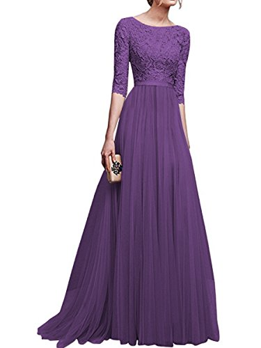 Elegant Abendkleider KAIDUN Damen Lange Arm 3 Violett 4 Brautjungfernkleid 5qA1AxOwU