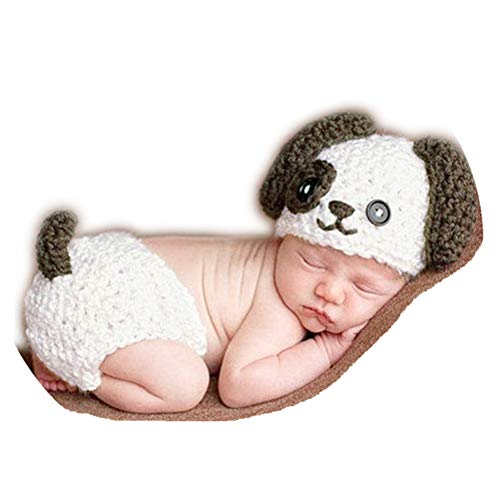 Newborn Baby Girl Boys Photography Props Outfits Lovely Dog Handmade Crochet Knitted Baby Hat Diaper Cover ()