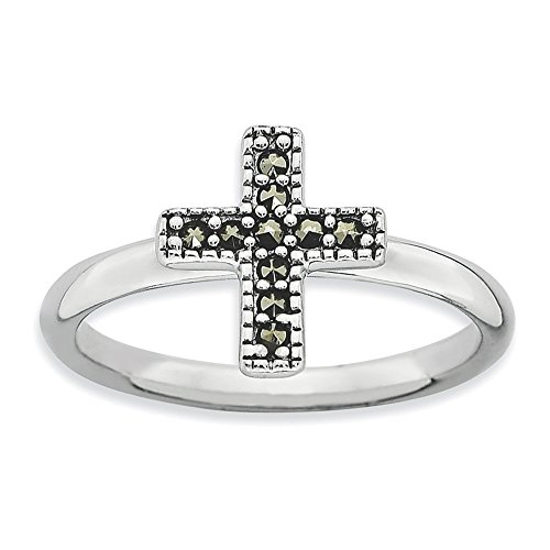 - Sterling Silver Stackable Expressions Marcasite Cross Ring Size 7