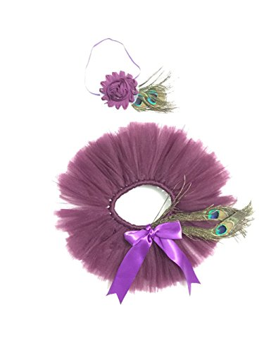 Ufraky Newborn Girls Peacock Feathers Headband TuTu Dress Costume Outfit ()