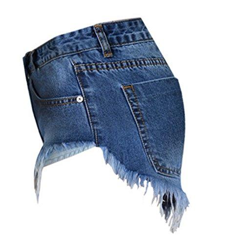 EMIN Damen Sommer Asymmetrische Boyfriend Hohe Taille Distressed Gewaschene Jeans Dünn Loch Jeanshose Troddel mit Taschen