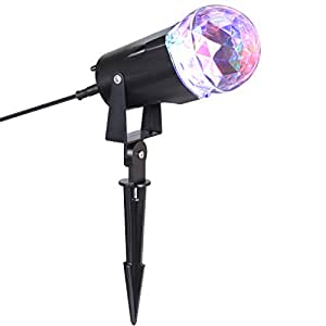 LEDGOO Waterproof Magical Spotlight Rotating Led Projector Light with Flame Lightings for Indoor Outdoor Christmas Festival Decorations for Home, Garden, Landscape (Colorful & White)