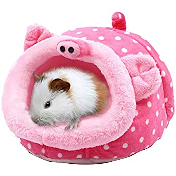 Emours Rats Hamster Chinchilla Winter Warm Fluffy Hanging Cage Hammock House Hideout with Bed Mat,Small