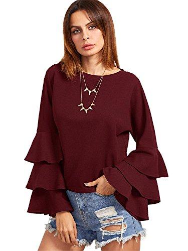(SheIn Women's Round Neck Ruffle Long Sleeve Blouse Burgundy Medium)