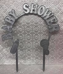 Baby Shower Silver Plastic Arch Cake Topper Decoration Keepsake Gift