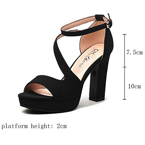 Sandals PU Vamp Wrap Heel Open Toe Female Thick Heel Summer High Heels Fish Mouth Shoes Black pbX3x0bkq