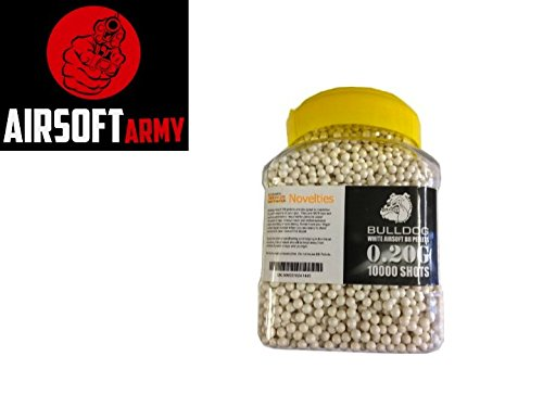 Bulldog High Pro Grade 6mm 0.20g Medium Weight WHITE BB Pellets x 10000 Tub Ace Novelties