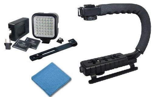 saveon Professional Stabilizer and LEDライトキットIncludesビデオアクション安定ハンドル+ LEDデジタルフォト&ビデオビデオカメラライトwithバッテリー、充電器、ブラケット+ saveonクリーニングクロスfor Canon EOS 60d DSLRカメラ   B008MLYR1M