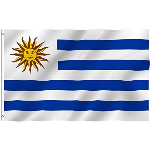 Anley Fly Breeze 3x5 Foot Uruguay Flag - Vivid Color and UV Fade Resistant - Canvas Header and Double Stitched - Uruguayan Flags Polyester with Brass Grommets 3 X 5 Ft