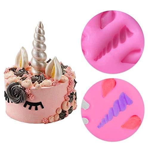 Unicorn Molde 3 piezas Mini rosa de silicona unicornio orejas de cuerno arco iris rosas flores moldes de unicornio temática de unicornio cumpleaños fiesta ...