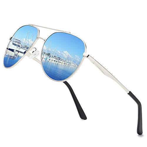 - Premium Military Men Aviator Polarized Sunglasses Women Coating Mirrored Sun Glasses For Driving,100% UV (Silver/Blue)