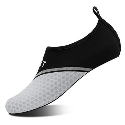 Mens Womens Water Shoes Barefoot Beach Pool Shoes Quick-Dry Aqua Yoga Socks for Surf Swim Water Sport (Black Gray, 42/43EU) ()