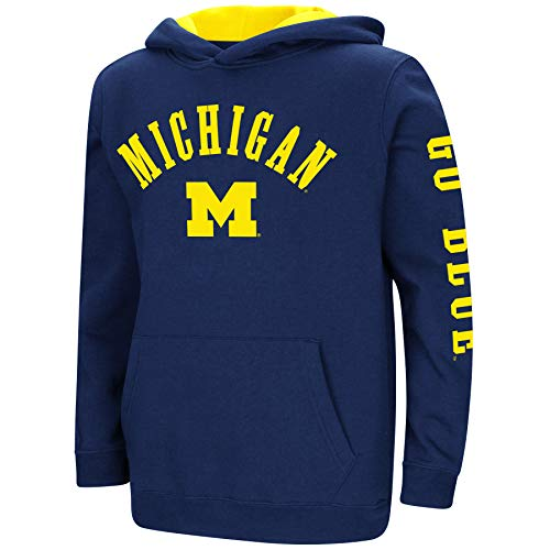 Colosseum NCAA Youth Boys-Crunch Time-Hoody Pullover-Michigan Wolverines-Blue-Youth Large