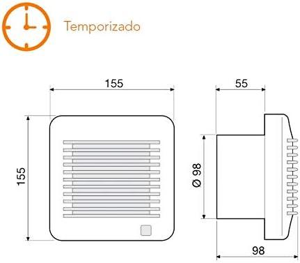 Extractor de baño temporizado S&P Edm-100 T: Amazon.es: Hogar