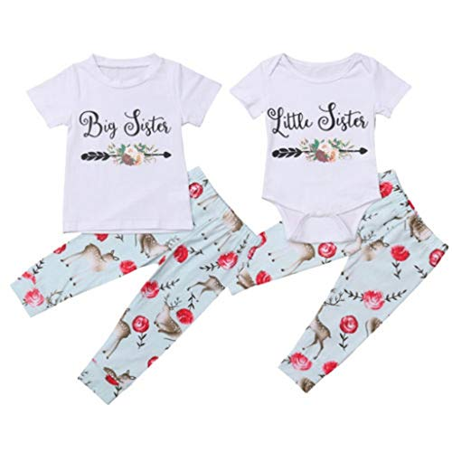 Family Clothes, Christmas Little Sister Baby Girl Kids Clothes Set Deer T-Shirt Top Girl Clothing Cotton Matching Outfit 0-6M White ()