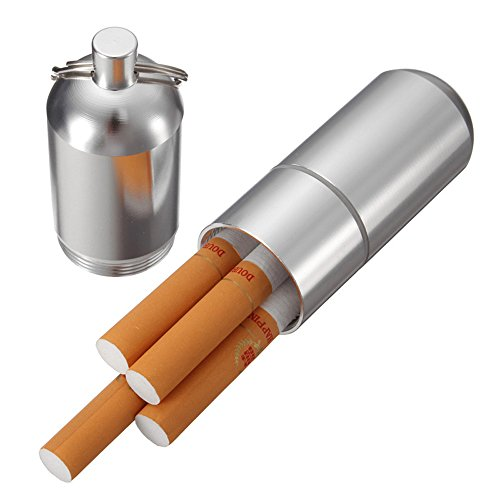 Mini Aluminum Cigarette Case Holder with Key Ring - Ehonestbuy Waterproof Round Cigarettes Pocket - Quality Case High Cigarette