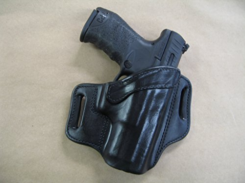 Walther PPQ M1, M2 9mm / .40 OWB Leather 2 Slot Molded Pancake Belt Holster CCW Black RH