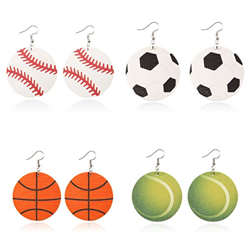 Sports Leather Earrings for Women Round Ball Leather Earrings Soccer Baseball Basketball Tennis Print Earrings for Girls Unique Earrings for Sports Lover]()