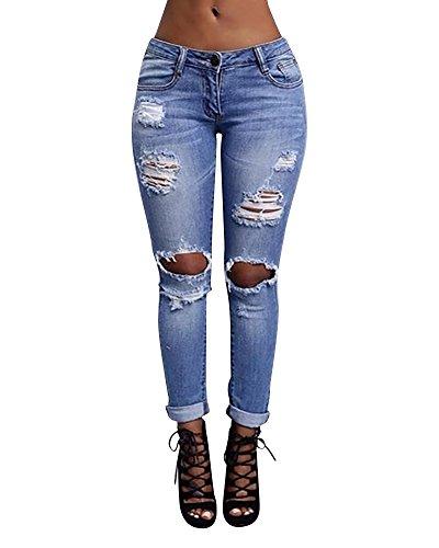 Skinny Denim Legging Donna Distressed Jeans Vita Alta Pantaloni Blu A vwZZW0qRO