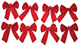 "8 Pack Red Velvet Christmas Holiday Bows- 7.9"" Wide x 10"" Long - Just The Right Size Bow for Home Decorating, Gift Baskets, Wreaths, Presents, Xmas Tree, Windows and More"