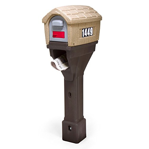 Simplay3 Classic Home Plus Plastic Post Mount Rustic Cabin Mailbox with Newspaper Holder - Sandstone/Brown