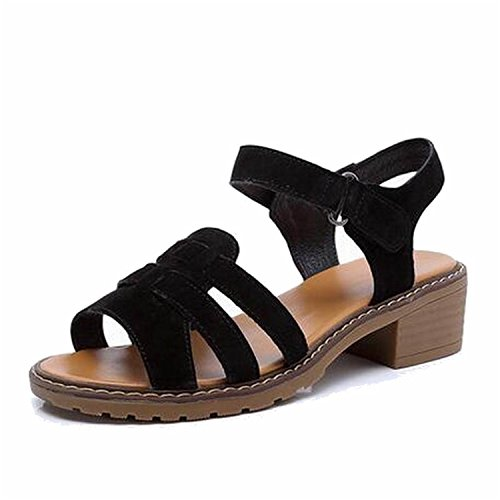 Women Plus Leather 61 Casual 25 Flats Buckle Black Woman Shoes Solid Genuine Zcaosma Sandals Size Strap pEwqf5xn