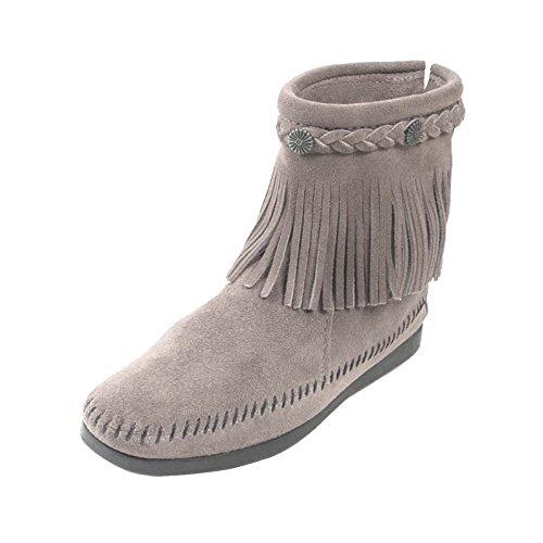 Minnetonka Hi Top Back Zipper knöchelhohe Fransen Damen Booties aus Wildleder mit Fußbett und Laufsohle aus Gummi neu Grey