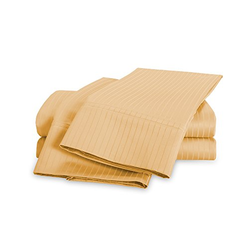(100% Egyptian Cotton Striped Sheet Set - 1000 Thread Count | Hotel Luxury Single Ply - Sateen Weave | Set Includes One Flat Sheet, One Fitted Sheet & Two Pillowcases, Queen, Gold)