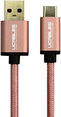 Cable USB-A 2.0 a USB Tipo C Certificado USB-IF con Forro de Nylon Trenzado de 4.3 MML - 1 Metro de Longitud - Color Rose Gold