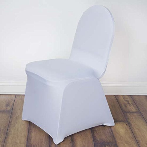 Efavormart 30 PCS White Stretchy Spandex Fitted Banquet Chair Cover Dinning Event Slipcover for Wedding Party Banquet Catering ()
