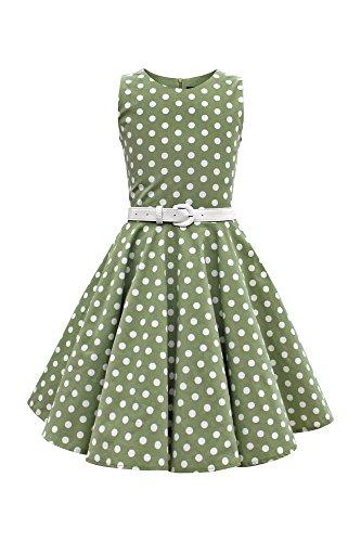 BlackButterfly Kids 'Audrey' Vintage Polka Dot 50's Girls Dress (Green, 7-8 YRS)
