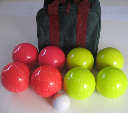 Epco Unique Premium Quality Tournament Set, Yellow and Red Bocce Balls - 110mm. Bag included.