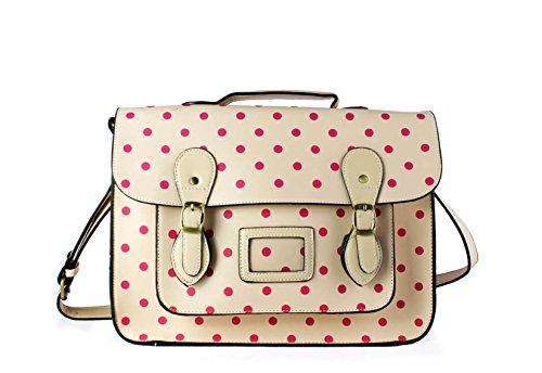 FoxLady - Bolsos mochila con lunares, para mujer crema
