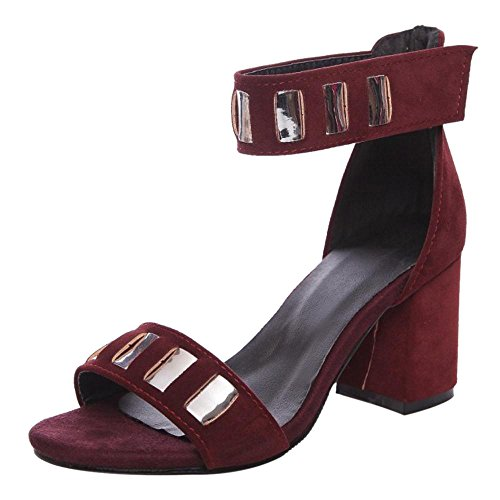 Coolcept Women Chunky Heel Sandals Shoes SU Claret U7uIlG7r