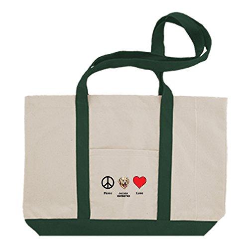 Retriever Tote Bag (Cotton Canvas Boat Tote Bag Peace Love Golden Retriever Dog Style In Print Green)