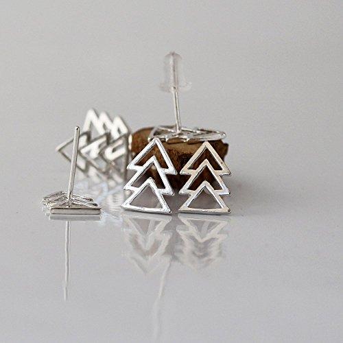 Handmade Sterling Silver Triangles Stud earring ,ear cuff, Nickel Free