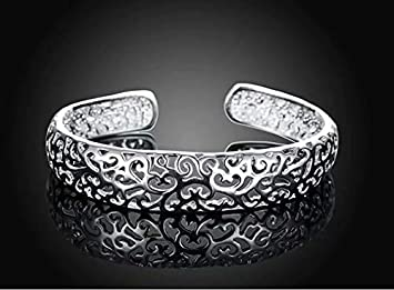 Superassure Fashion Womens Jewellery Silver Plated Opening Double Round Head Bracelet Bangle
