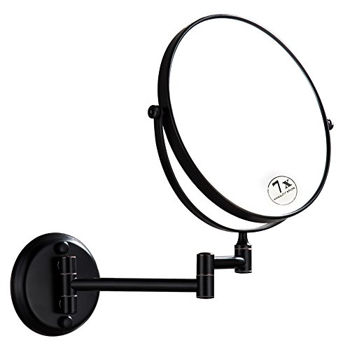 DOWRY Magnifying Mirror Wall Mount Oil Rubbed Bronze with 7x Magnification, 8 Inch Double-Sided Swivel, 12 Inch Extension, - Bronze Round Mirror